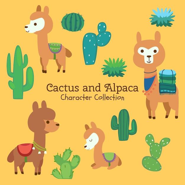 Colección de personajes de cactus y alpaca Vector Premium
