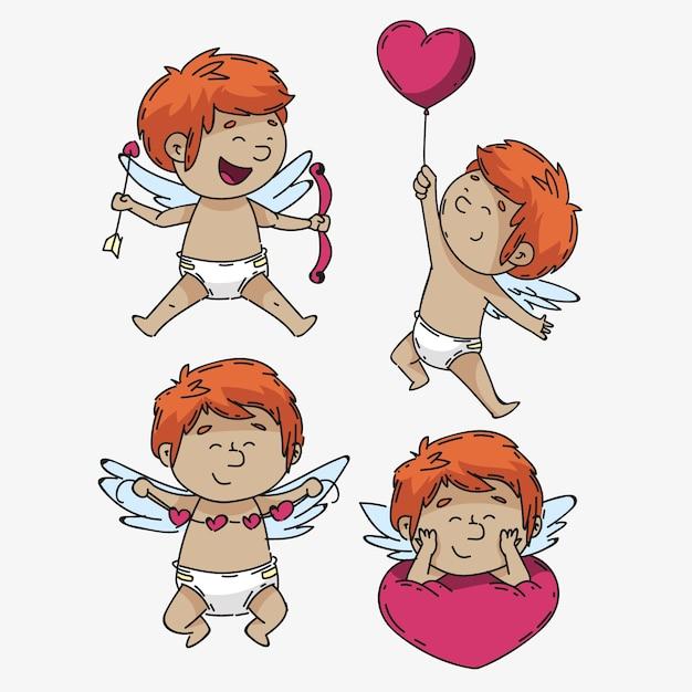 Colección de personajes de cupido para el día de san valentín vector gratuito