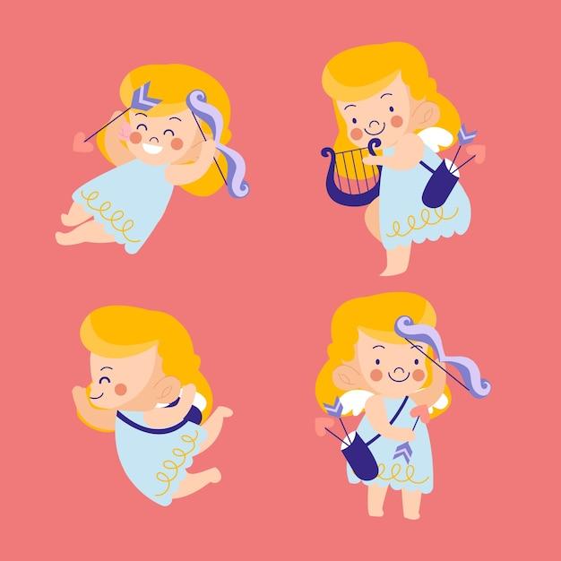 Colección de personajes de cupido dibujados a mano vector gratuito