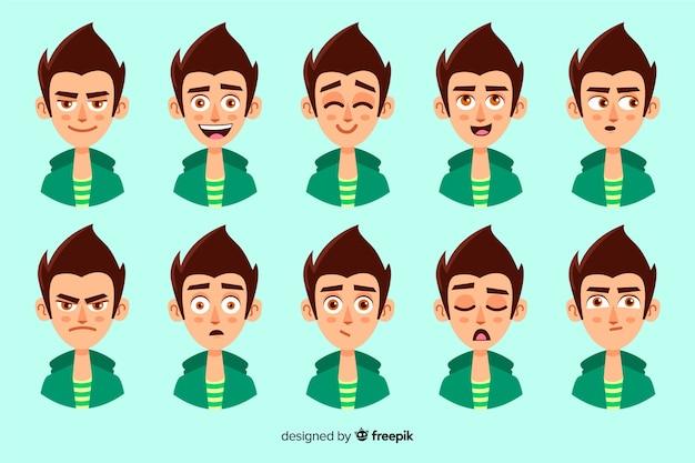 Colección de personajes con diferentes expresiones faciales vector gratuito