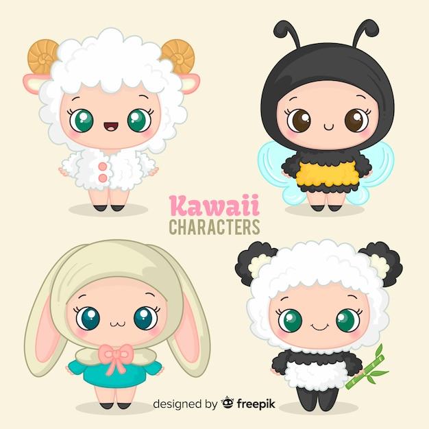 Colección personajes disfrazados adorables dibujados a mano vector gratuito