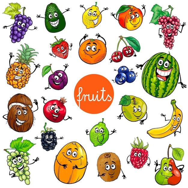 colección de personajes de frutas de dibujos animados descargar