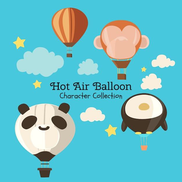 Colección de personajes de globos aerostáticos Vector Premium