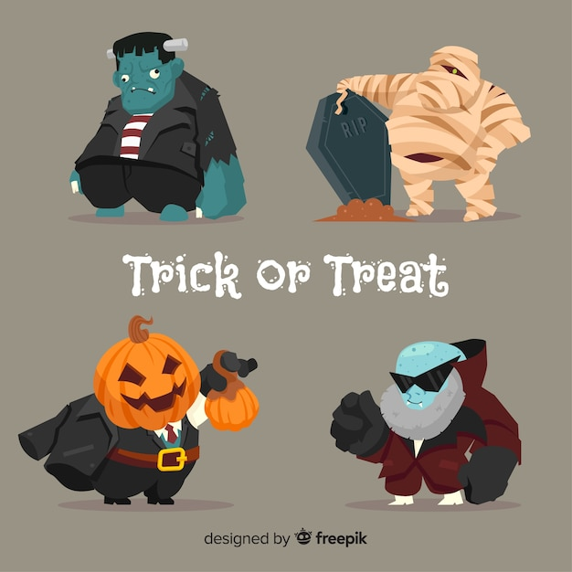 Colección de personajes gordos de halloween vector gratuito