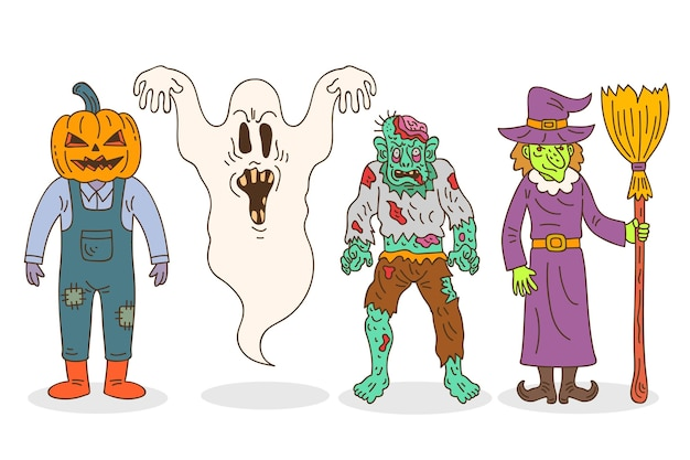 Colección de personajes de halloween dibujados a mano vector gratuito