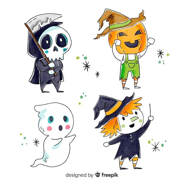 Colección de personajes de halloween estilo acuarela vector gratuito