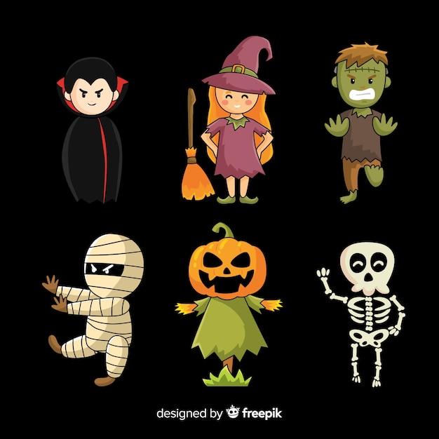 Colección de personajes de halloween plana sobre fondo negro vector gratuito