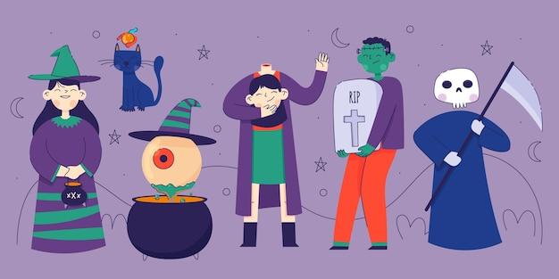 Colección de personajes de halloween plana vector gratuito