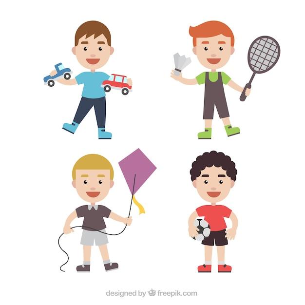 Colección de personajes infantiles con diferentes juguetes ...