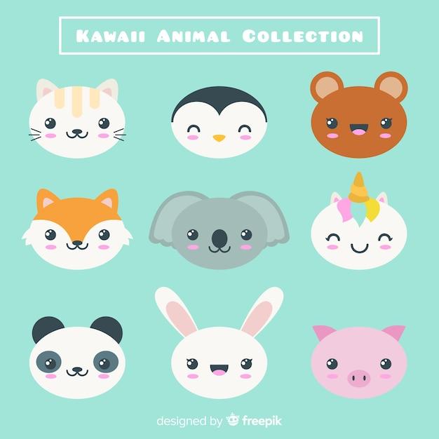 Colección personajes kawaii dibujada a mano vector gratuito
