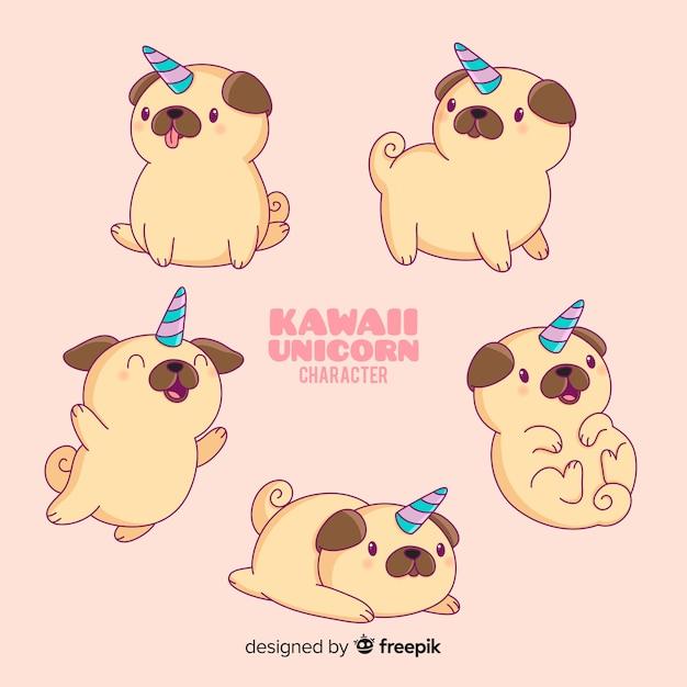 Colección de personajes kawaii perro unicornio vector gratuito