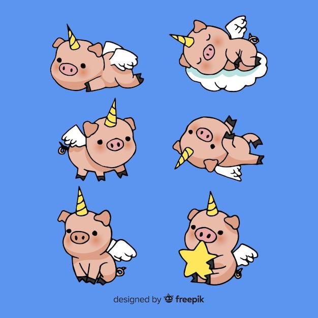 Colección de personajes kawaii de unicornios Vector Premium