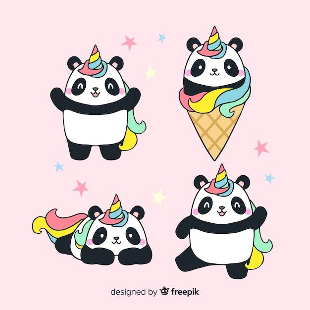 Colección de personajes kawaii de unicornios vector gratuito