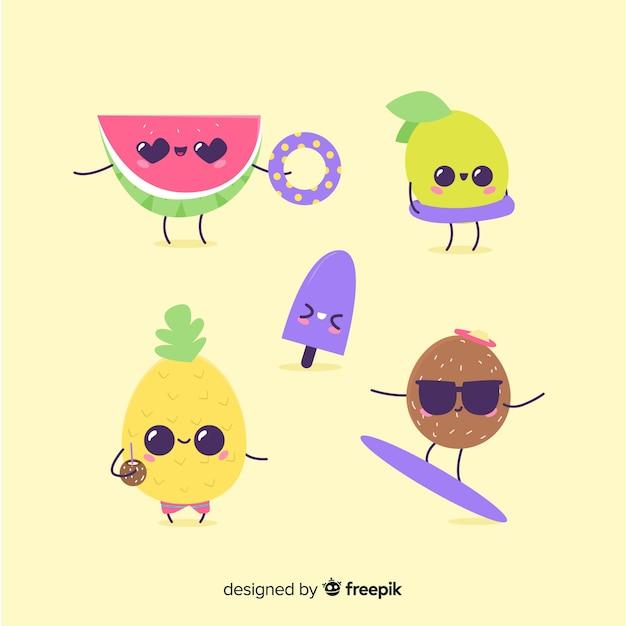 Colección de personajes kawaii de verano adorables vector gratuito