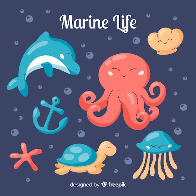 Colección de personajes marinos dibujado a mano vector gratuito