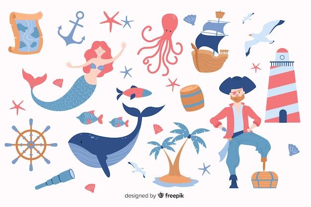 Colección personajes marinos dibujados a mano vector gratuito