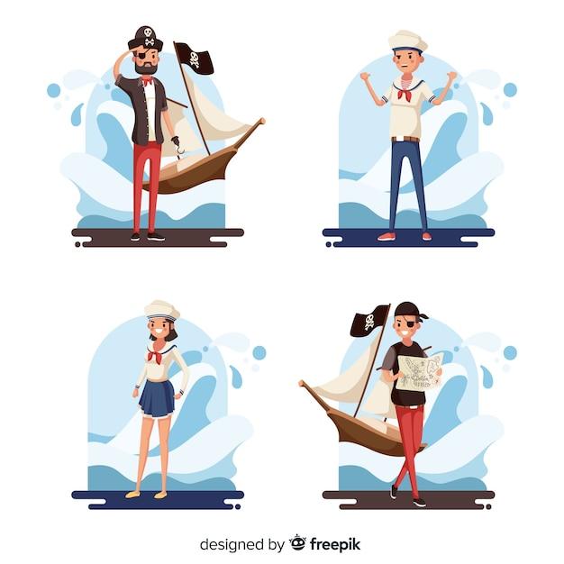 Colección de personajes marinos vector gratuito