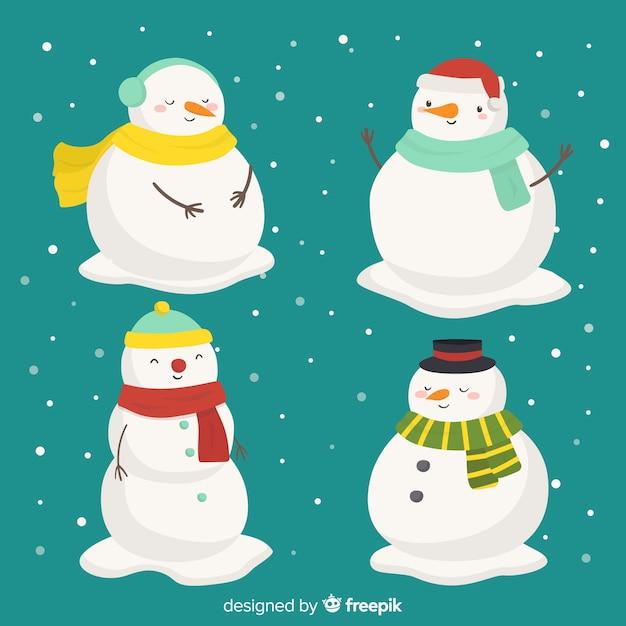 Colección de personajes de muñeco de nieve dibujados a mano vector gratuito