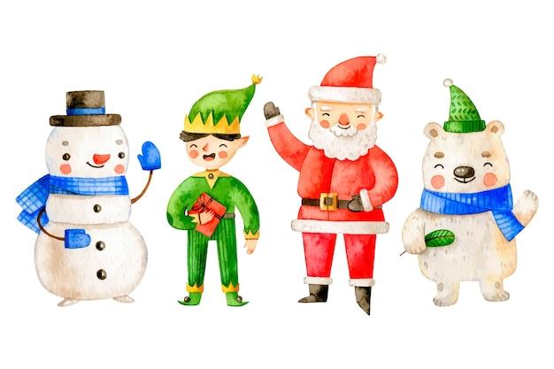 Colección de personajes de navidad de acuarela vector gratuito