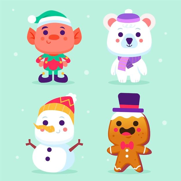Colección de personajes de navidad de diseño plano vector gratuito
