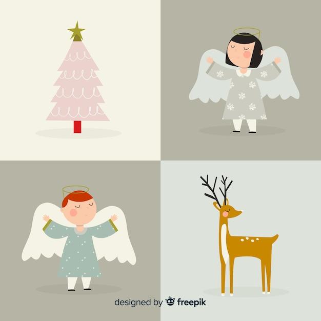 Colección de personajes de navidad vector gratuito