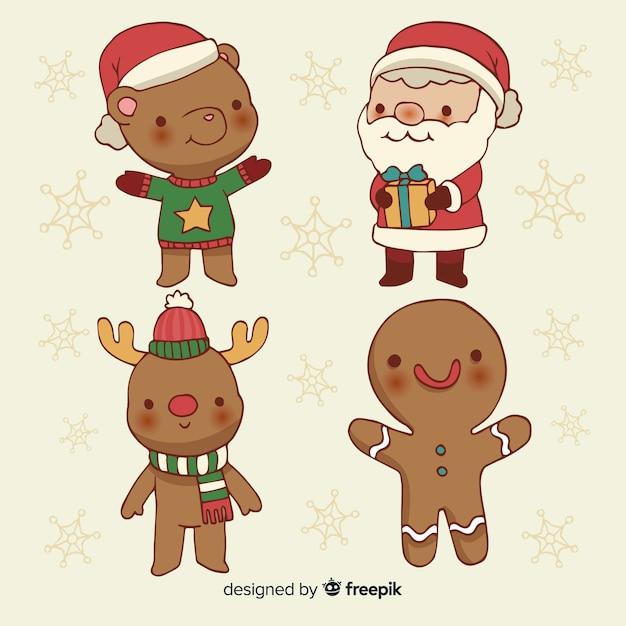Colección de personajes navideños dibujados a mano vector gratuito