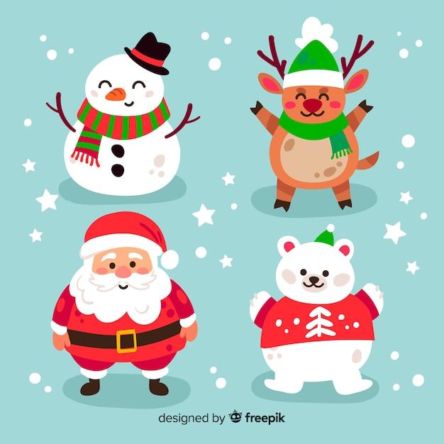 Colección de personajes navideños dibujados a mano Vector Premium