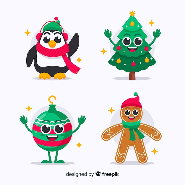 Colección de personajes navideños en diseño plano vector gratuito