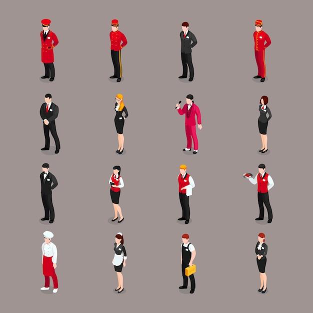Colección de personajes del personal de hospitalidad vector gratuito