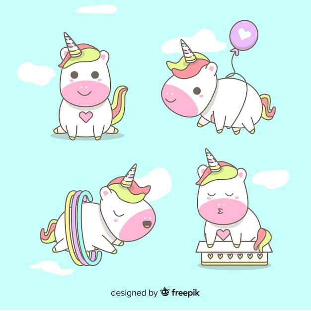 Colección de personajes de unicornio en estilo kawaii vector gratuito