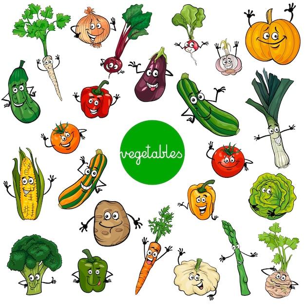 Colección De Personajes De Verduras De Dibujos Animados