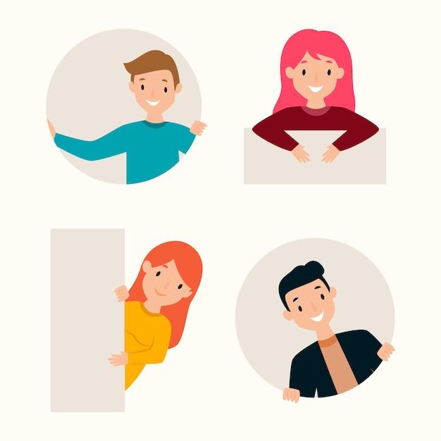 Colección de personas asomando de diseño plano vector gratuito
