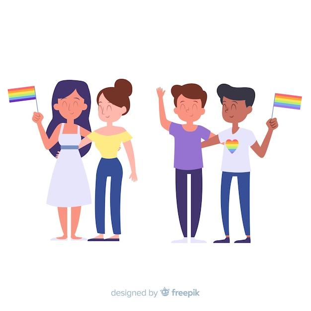Colección de personas celebrando el orgullo lgbt vector gratuito