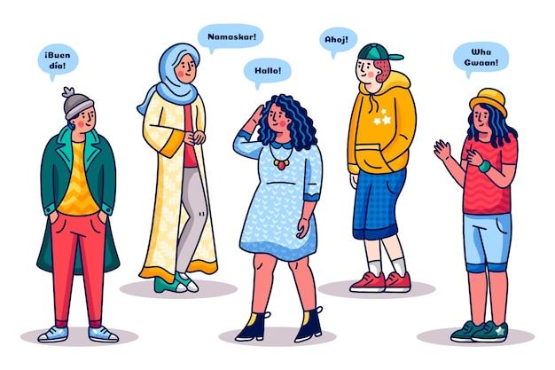 Colección de personas multiculturales de dibujos animados vector gratuito