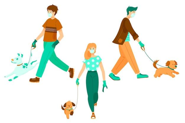 Colección de personas paseando a sus perros vector gratuito