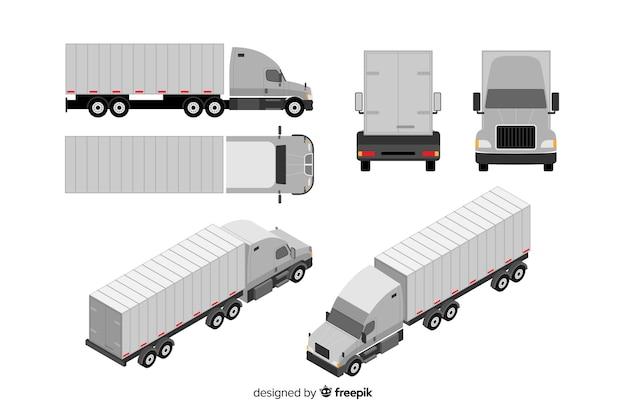 Colección perspectivas isométricas de camión vector gratuito