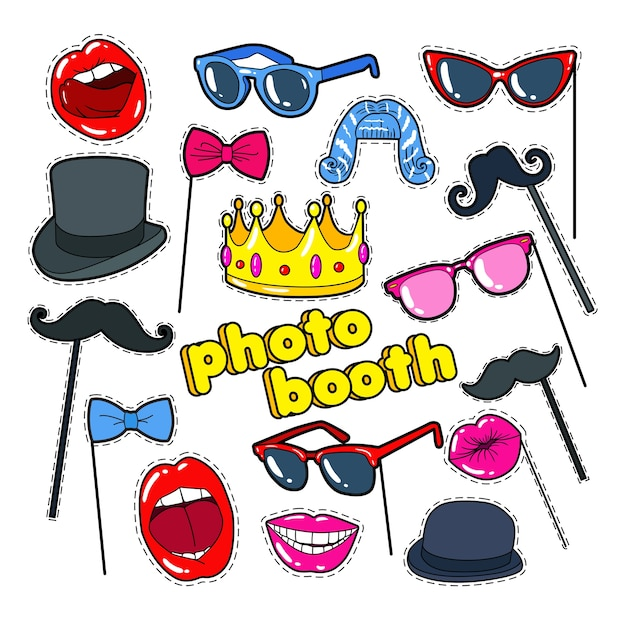 Colección photo booth props Vector Premium