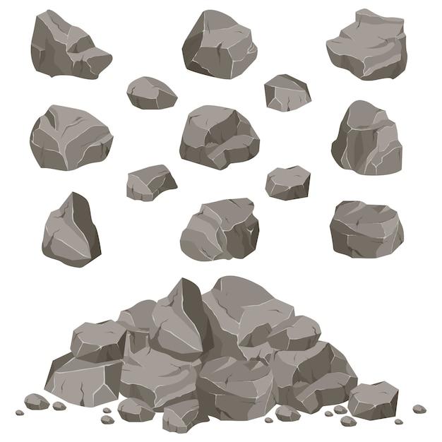 Colección de piedras de diversas formas. rocas y escombros de la montaña. un gran bloque de piedras. fragmento de piedra Vector Premium