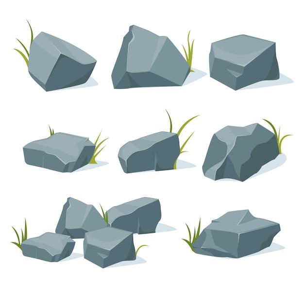 Una colección de piedras de montaña de varias formas. Vector Premium