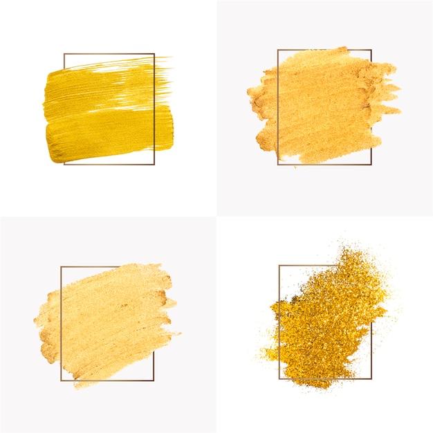 Colección de pinceladas de oro. vector gratuito