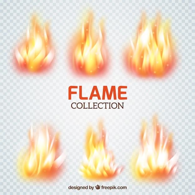 Colección de pinceles de llamas vector gratuito