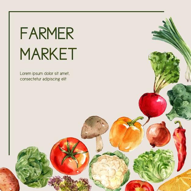 Colección de pintura de acuarela vegetal. ilustración de anuncio saludable de decoración orgánica de alimentos frescos vector gratuito