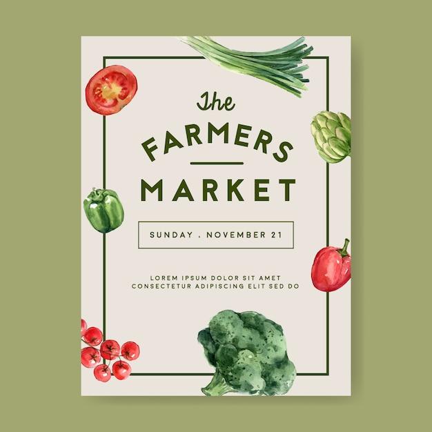 Colección de pintura de acuarela vegetal. ilustración saludable de alimentos orgánicos póster flyer saludable vector gratuito