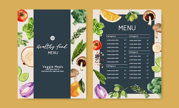 Colección de pintura de acuarela vegetal. ilustración saludable de menú orgánico de alimentos frescos vector gratuito