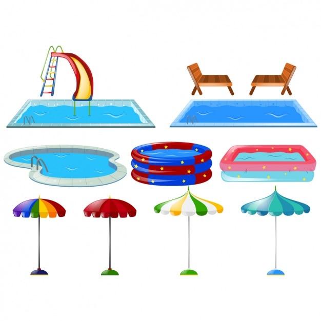 Colección de piscinas a color vector gratuito