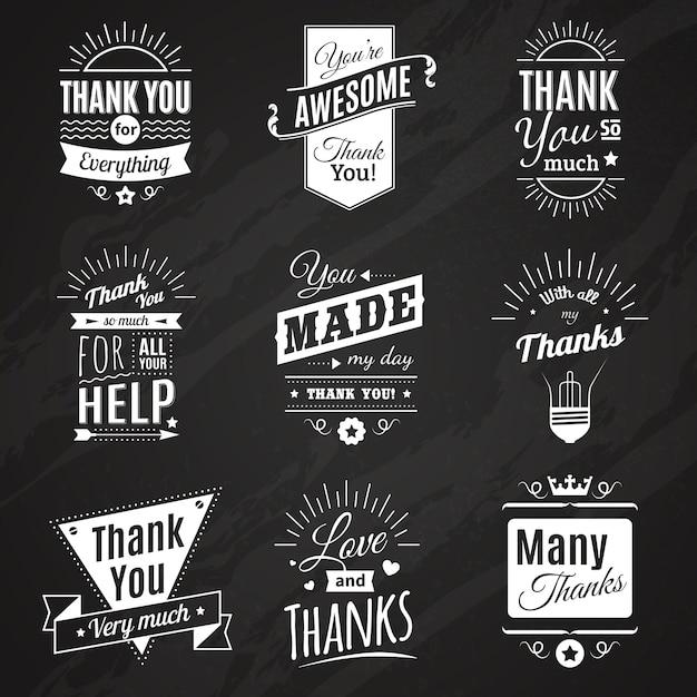 Colección de pizarrón de nueve carteles de agradecimiento vintage en diferentes estilos de fuente. vector gratuito