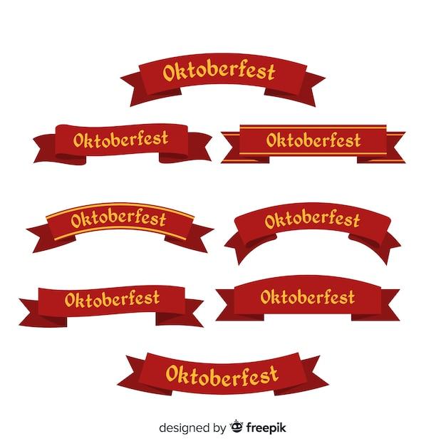 Colección plana de cintas oktoberfest vector gratuito