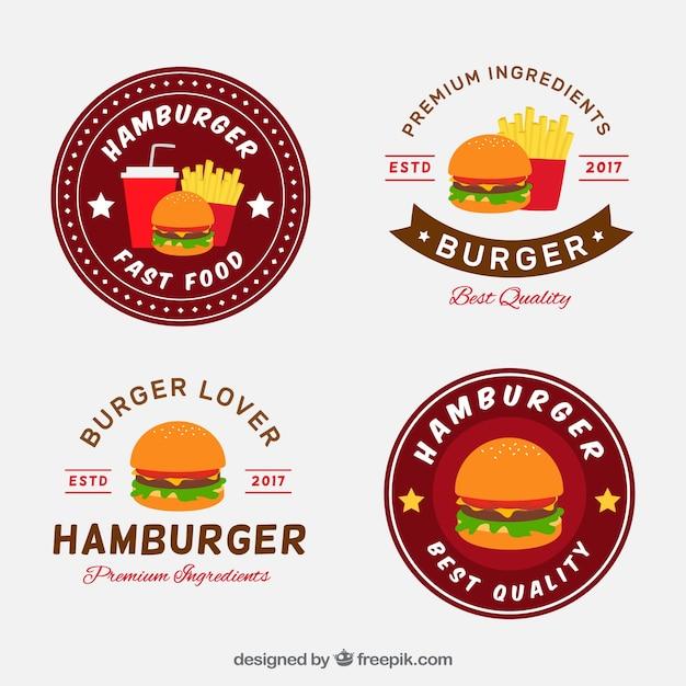 Colección Plana De Cuatro Logos De Hamburguesas Descargar Vectores