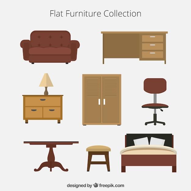 Colecci n plana de muebles descargar vectores premium for Sillas para armar y recortar