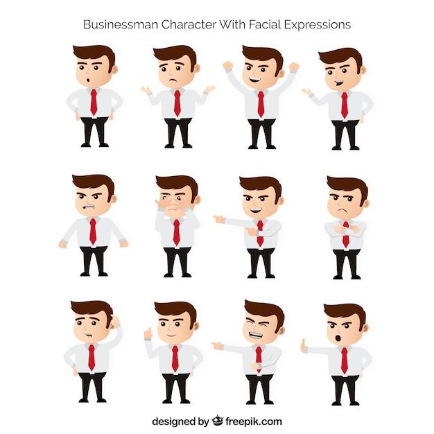 Colección plana de personaje de hombre de negocios con expresiones faciales fantásticas Vector Gratis